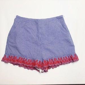 English Factory Gingham Frill Trim Shorts (M)